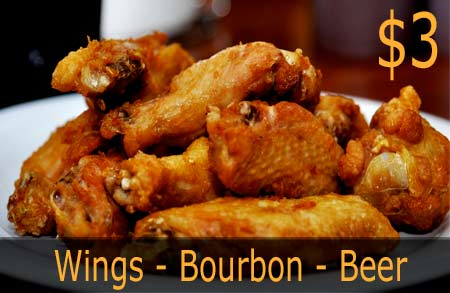 $3 Wings - $3 Bourbon - $3 Beer